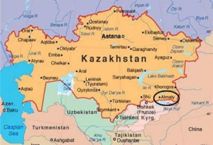 Політична мапа Казахстану.