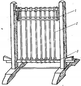 Верстат для плетіння полотна із рогозу: 1 – ляда; 2 – нитки основи; 3 – нижня рухома рейка для натягання основи