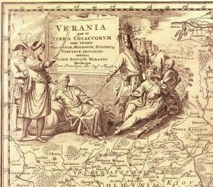 Друга чверть ХVІІ ст. Картуш карти І. Гомана, складеної на підставі карти України Гійома де Боплана.