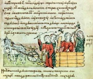 Сівба й оранка. Мініатюра з літопису