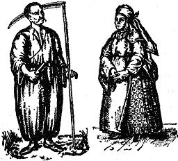 Український селянин. Українська селянка, за Рігельманом.