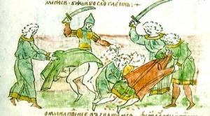 Використання мечів у бою. Мініатюра з літопису