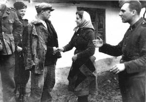 Сестра прощається з братом, що йде добровольцем в дивізію СС «Галичина». Травень 1944р.