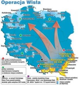 """Операція """"Вісла"""" на польській карті"""