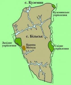 Більське городище (Гелон). Карта