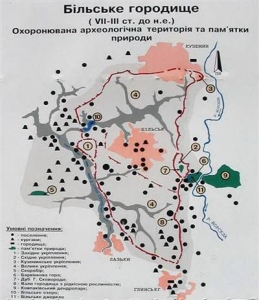Більське городище (Гелон). Карта-схема