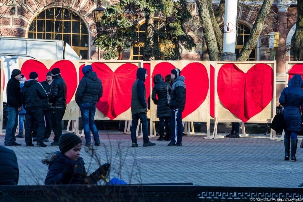 Центр Тернополя. День всіх закоханих.