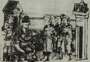 Князь, який приймає данину. Мініатюра з Радзивилловської літописі. XV ст.